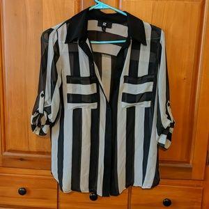 Iz Byer striped sheer blouse